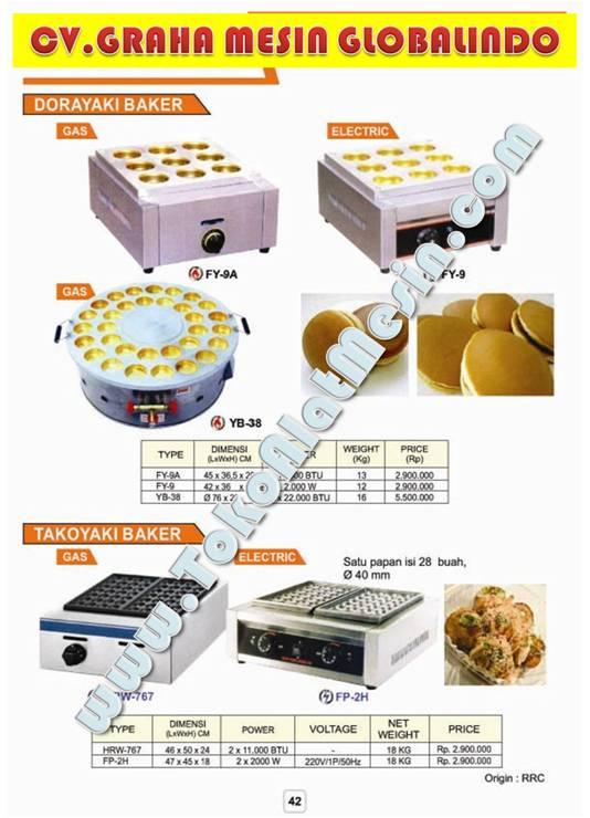 Mesin untuk membuat roti Daroyaki dan Takoyaki Baker