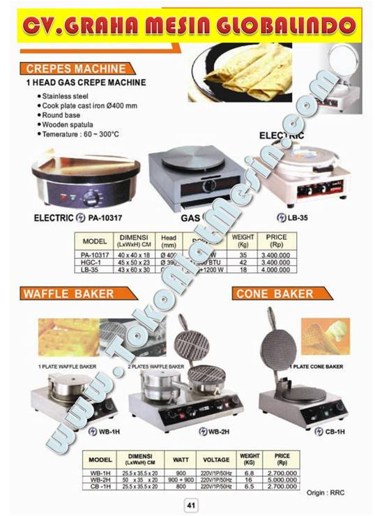 Mesin Usaha: Membuat Crepes Machine - Waffle Baker - Cone Baker