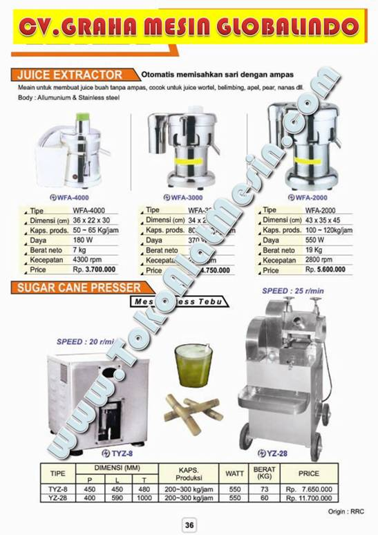 Jual Mesin Es Sari Tebu - Pemeras Tebu - Jus Sari Buah - Pemeras Buah - Juicer - Juice Extractor